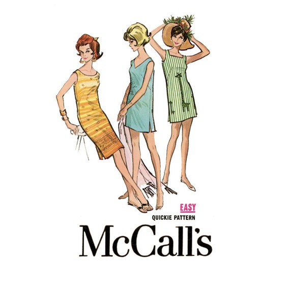 1960s Dress Pattern McCalls 6740 Bust 34 to 36 Sleeveless Pullover Summer Shift Beach Sundress Cover Up Womens Vintage Sewing Patterns