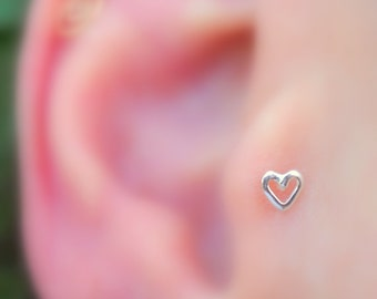 Tragus Earring  - Nose Ring - Cartilage Earring - Sterling Silver Valentine Heart Tragus Stud