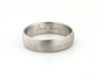 love always fingerprint ring sterling silver engraving wedding band 6mm satin finish - Wedding Ring Inscriptions