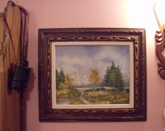 "H Balier ,20s century of 50'S oil on canvas painting landscape, autumn ,wooden hand curved frame, signed. 29"" x 25"" Gift"
