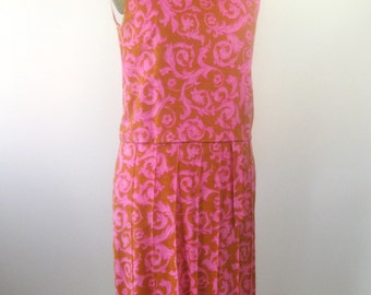 1950s Sleeveless Pink Orange Dress Scroll Pattern Womens Medium Large