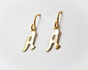 Tiny A Initial Earrings - Vintage Letter Charm - Initial Jewelry - Letter Earrings - Personalized Jewelry - Monogram Earrings