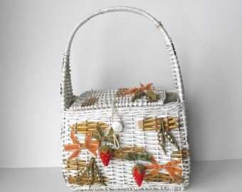 Vintage Wicker Purse with Velvet Strawberries, Made in Japan