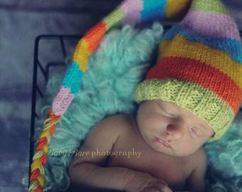Newborn photo prop, Easter/ spring newborn/ baby elf hat, newborn boy, newborn girl, baby hat knit, newborn props, baby hat, newborn hat