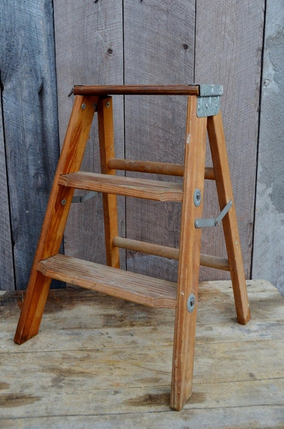 step ladder vintage small wooden folding step stool industrial. Black Bedroom Furniture Sets. Home Design Ideas