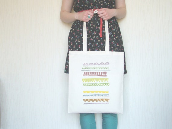 SALE Pretty Pastels Vintage Trimmings Pattern Illustrated Canvas Tote Bag Shopper
