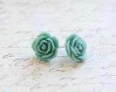 Turquoise Rose Earrings - Rose Earrings - Bridesmaid Earrings - Rosette Earrings - Turquoise Wedding - Antique Wedding