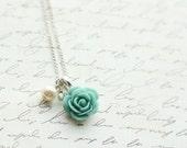 Turquoise Rose Necklace - Aqua Rose Necklace - Bridesmaid Necklace - Flowergirl Necklace - Weddings - Turquoise Wedding - Aqua Wedding