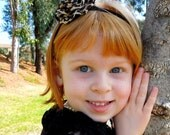SALE Baby Toddler Girls Boutique Single Leopard Print Flower on Elastic Headband- Many Sizes Available