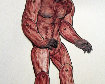 Sasquatch Bigfoot Articulated Paper Doll