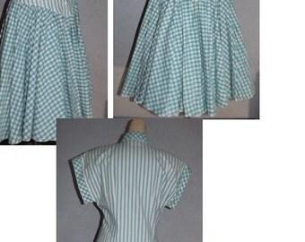 Vintage Cotton Dress Long Funky Square Dance  Dress S-M
