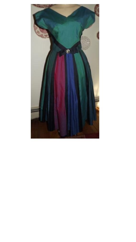 Vintage Green Stripe1950's Dress