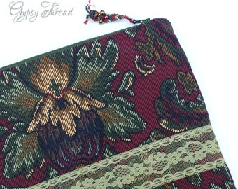iPad Tablet Cover, Vintage Tapestry and Lace iPad Cover, Royal Colors