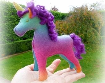 Waldorf Steiner inspired Wool Felt toy Unicorns(2) -Natural fibre Unicorn-Waldorf Unicorn doll-Rainbow -custom order from Debs Steiner Dolls