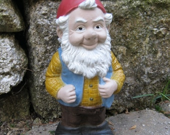 Gnome Named Gneil, Painted Concrete Garden Gnomes