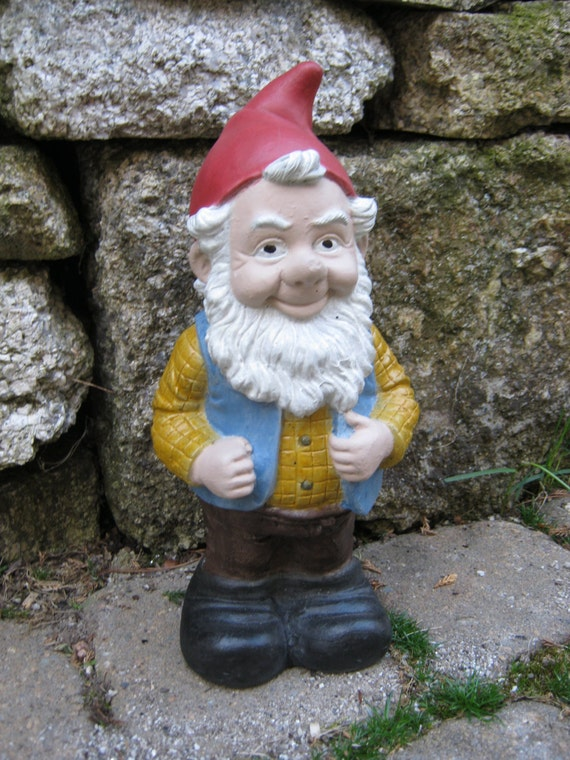 Gnome In Garden: Gnome Named Gneil Painted Concrete Garden By