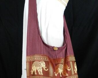 Thai Cotton Sling Crossbody Bag Hippie Hobo Elephant Shoulder Messenger Purse / 8 Colors Available BUR