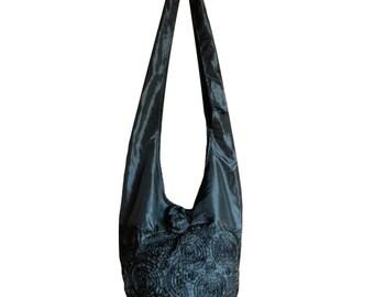 Silk Purse Bag Hippie Hobo Sling Crossbody Messenger Book Bag in Black - Floral Rosette Embroidered