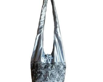 Silk Purse Bag Hippie Hobo Sling Crossbody Messenger Book Bag in Silver Gray - Floral Rosette Embroidered