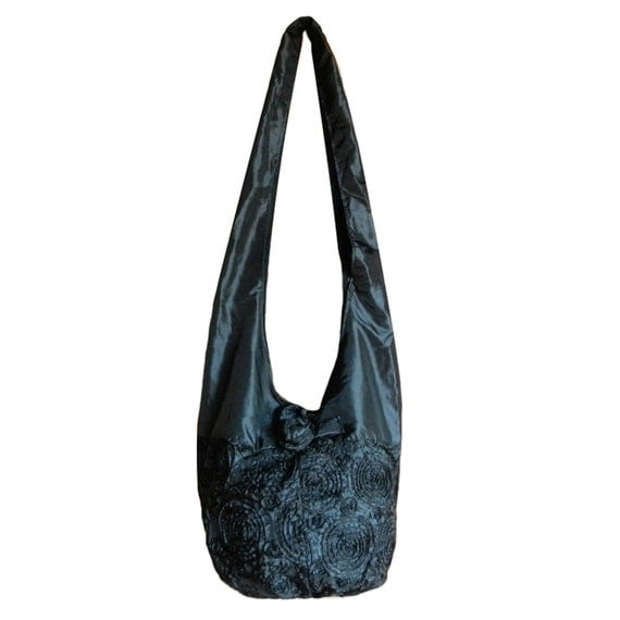 Items similar to Silk Purse Bag Hippie Hobo Sling Crossbody ...