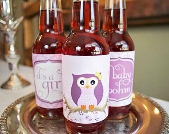 DIY printable soda bottle wrappers- vintage lavender owl