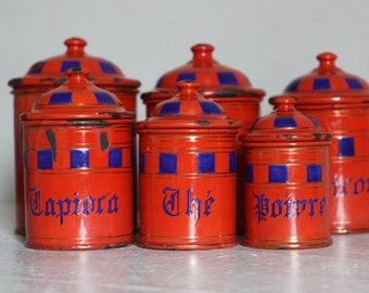 Fabulous Antique French Set of Six Red and Blue Enamel Canisters 1900s