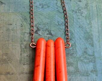 Geometric Deep Orange Turquoise 3 Spike Copper Necklace / Tribal / Boho / Custom / Geometric Necklace / Spike Necklace / Pumpkin Orange