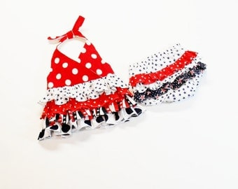 Baby Girl 4TH OF JULY Outfit Size 12 Months to 2T  Ruffled Bloomers Halter Top Summer Outfit USA Red White Blue