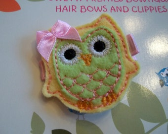 Yellow Lime Pink Summer Owl Felt Machine Embroidered Hair Clip Clippie Babies, Toddlers, Girls
