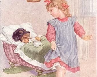 DACHSHUND in CRADLE Girl Tiptoes Away 1910's Art Vintage MAGNET