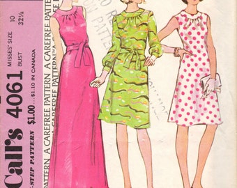 Bust 32 1/2-1974 Misses' Dress McCall's 4061 Size 10