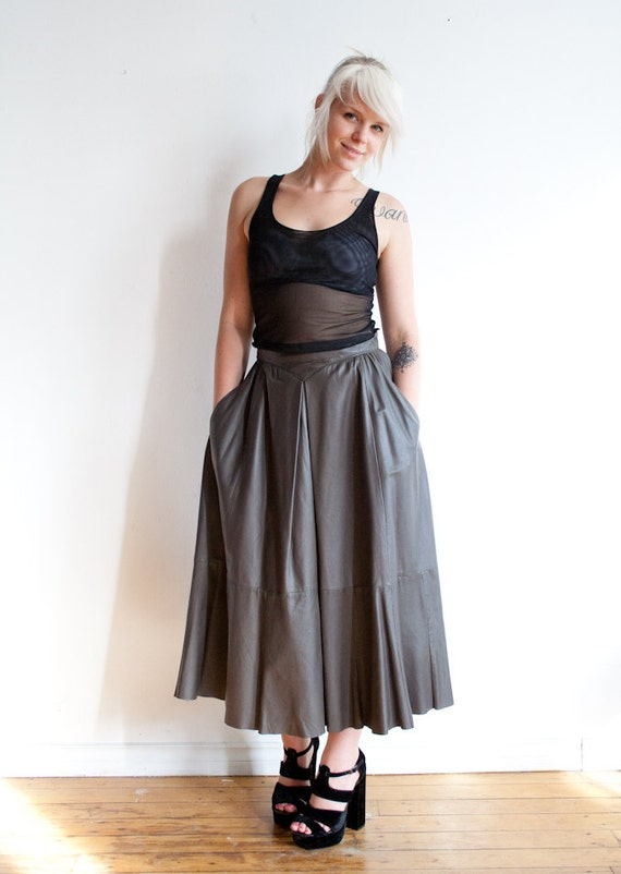 80s grey leather skirt s