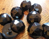 """Cool Vintage Black Plastic Shank Buttons 12 each 3/4"""" (30L 19MM) beveled jewel dome shape sewing crafts steampunk"""