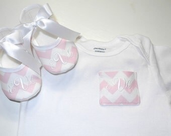 Monogram Pocket Tee- Monogrammed Baby Shoes- Pocket Onesie- Creative Baby Shower Gift - Newborn Keepsake Gift- Personalized Baby- Baby Shoes