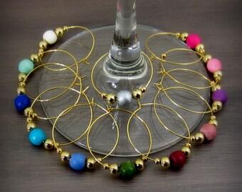 12 - Wine Charms | Wood Wine Glass Charms | Gift Box | Wine Hostess Gift - Wine Glass Markers - Wine Tasting - Housewarming Gift | GW12-1