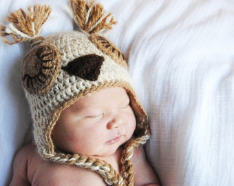 Sleepy Baby Owl Hat in Undyed Alpaca