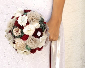 Red  bridal  Bouquet Fabric Bridal Bouquet deposit