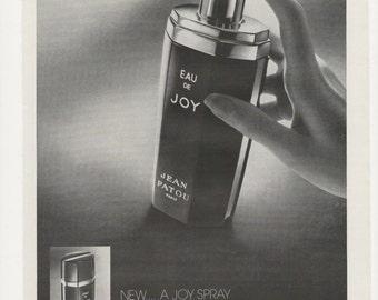 1972 Advertisement Eau de Joy Atomiseur Aerosol Perfume Cologne Black and White Fragrance Scent Shop Bedroom Dressing Room Wall Art Decor