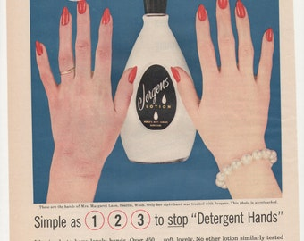 1957 Advertisement Jergen's Lotion 50s Beauty Fashion Illustration Photography Detergent Hands Nail Polish Salon Wall Art Decor