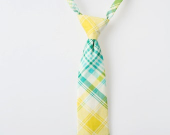 Todder Necktie - Aqua, Teal, and Yellow Plaid - Boys Easter Tie