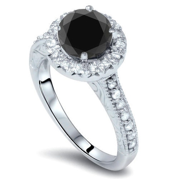 2 75CT Black Diamond Vintage Engagement Ring Hand Engraved