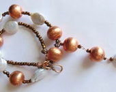 Copper and pearls with pendant, statement necklace  451