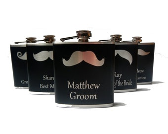 Mustache Flask- Wedding Rolls- CUSTOM, Personalized- alcohol, whiskey, bridal party -6, 8 ounce oz