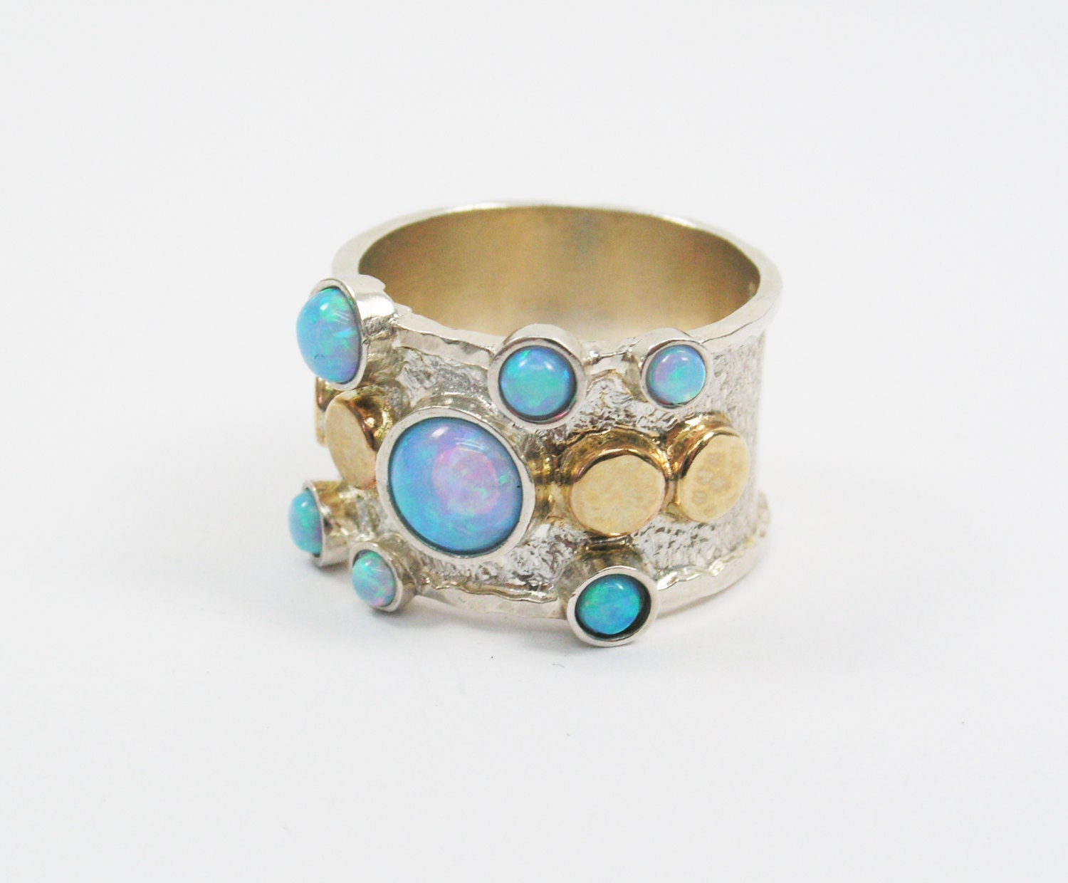 sterling silver 14k gold opal ring unique opal ring by
