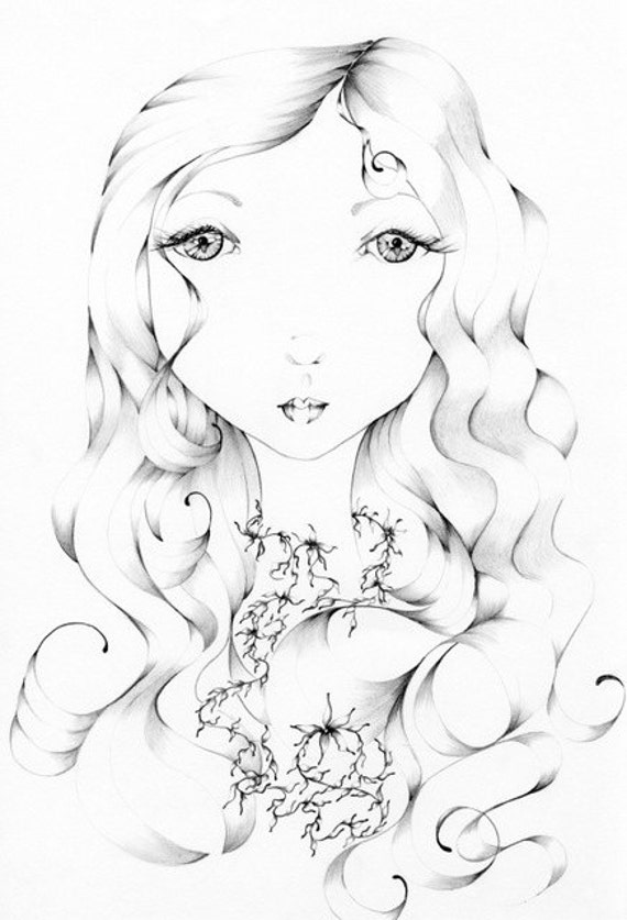 "Pencil Drawing Fantasy Art ""I See You"" Giclee Print of my Original Pencil Drawing  teamt Black and White"