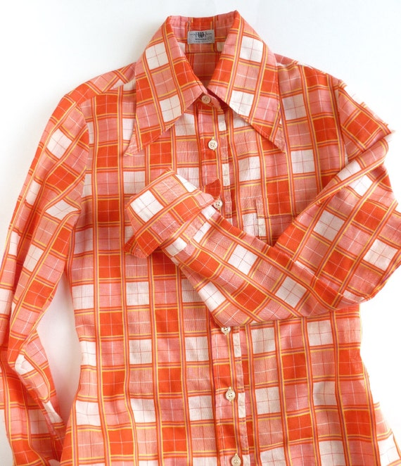 Orange Plaid Shirt Womens Button Down With By
