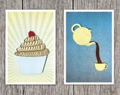 Cupcake and tea poster set, quilled cupcake, quilled tea, paper art print, Paper art print, 12x18in, Ready to ship, mother's day gift