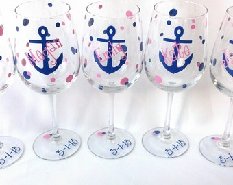 Anchor wine glasses, 1 bridesmaids gift wine glasses, nautical themed wedding or Bachelorette favor. Boat anchor glasses.