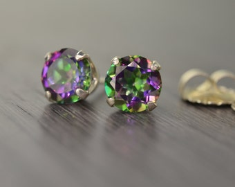 Mystic Topaz Earring, large round purple green rainbow silver stud, 2.25ct/4.5ct tw Green Fire Topaz