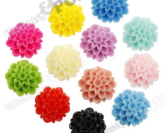 25 - MIXED COLOR Dahlia Chrysanthemum Flower Cabochons, Flower Cabs, Mum Shaped, 20mm (R2-089)